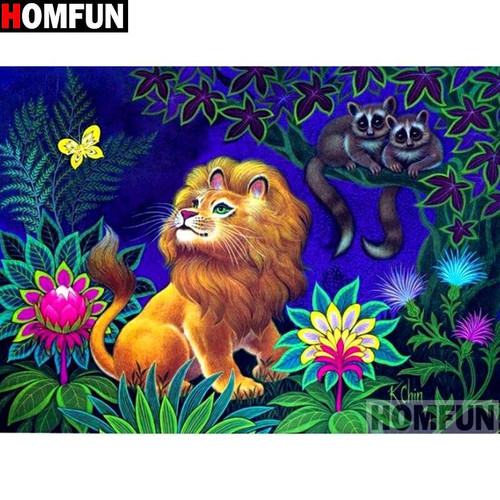 5D Diamond Painting Yellow Butterfly Lion Kit
