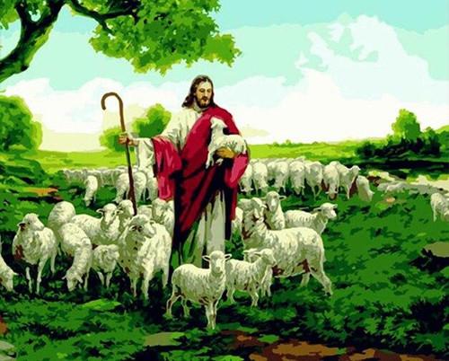 5D Diamond Painting Jesus Shepherd of the Lambs Kit