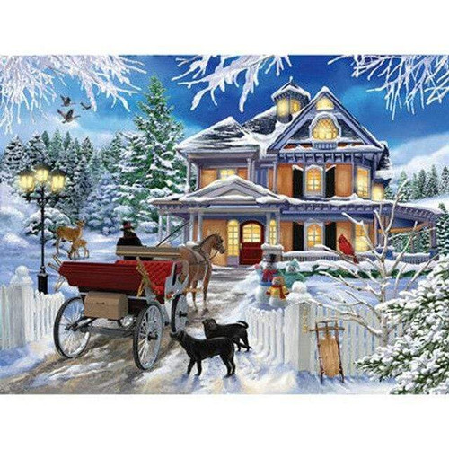 5D Diamond Painting Carriage in Winter Kit
