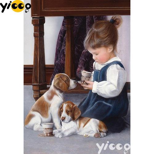 5D Diamond Painting Puppy Tea Party Kit