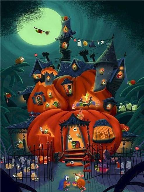 5D Diamond Painting Halloween Pumpkin Snail House Kit