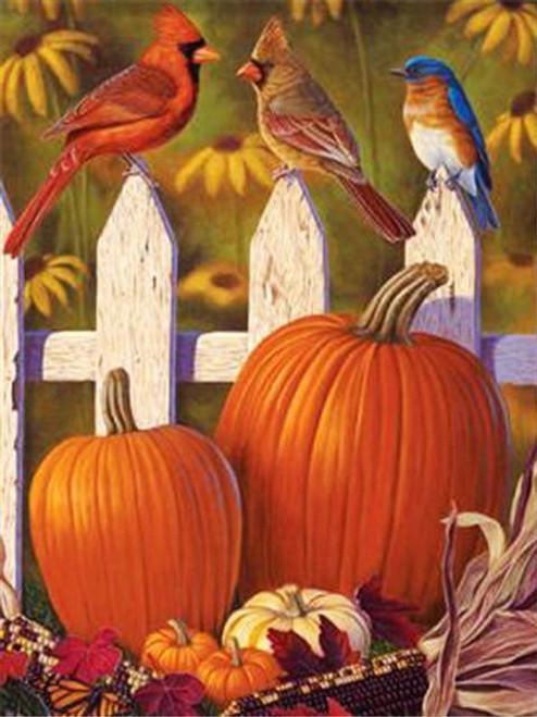 5D Diamond Painting Three Birds and Pumpkins Kit