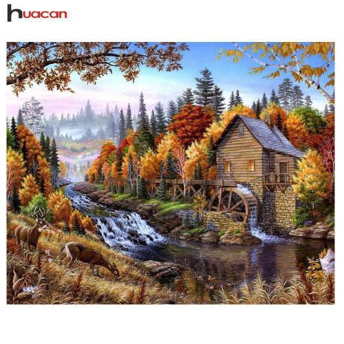 5D Diamond Painting Water Mill House Kit
