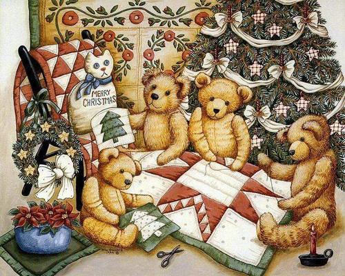 5D Diamond Painting Bears Quilting Christmas Kit