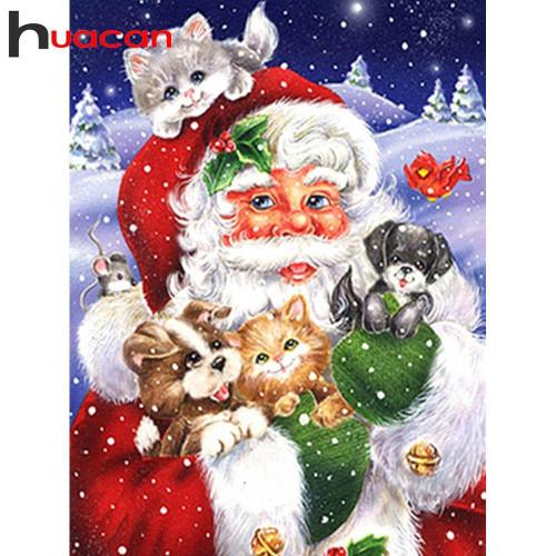 5D Diamond Painting Santa and Pets Kit