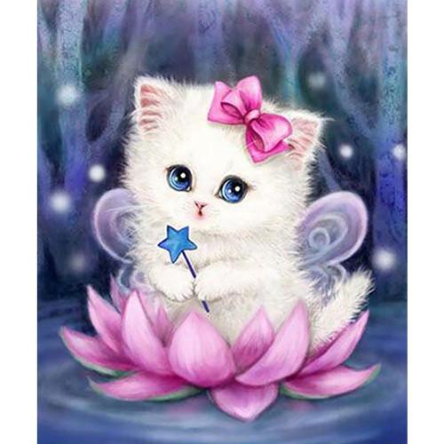 5D Diamond Painting Lotus Fairy Kitten Kit