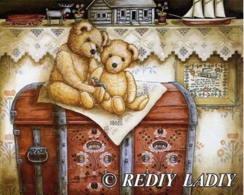 5D Diamond Painting Two Stuffed Bears and a Bird Kit