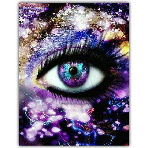 5D Diamond Painting Purple Butterfly Eye Kit