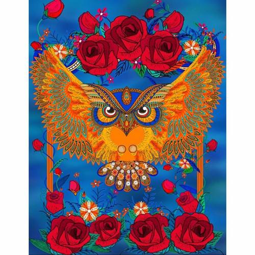 5D Diamond Painting Red Rose Owl Kit