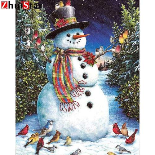 5D Diamond Painting Bird Flock Snowman Kit