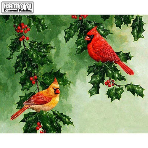 5D Diamond Painting Yellow & Red Cardinals Kit