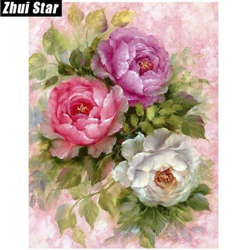 5D Diamond Painting Purple, Pink & White Flowers Kit