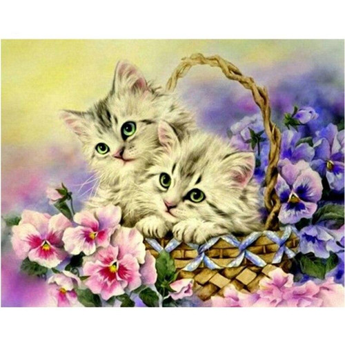 5D Diamond Painting Basket with Two Kittens Kit