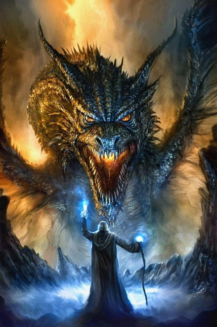 5D Diamond Painting Wizard and Angry Dragon Kit