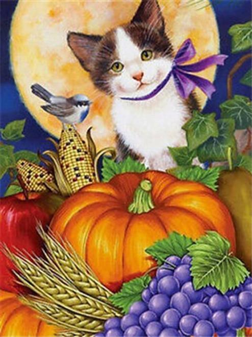 5D Diamond Painting Purple Bow Harvest Kitten Kit