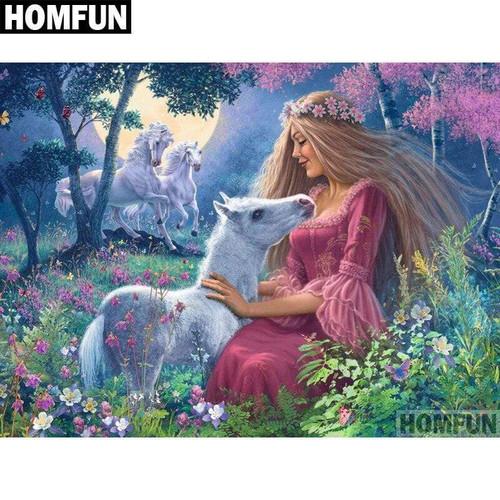 5D Diamond Painting Maiden and White Horses Kit