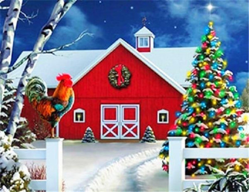 5D Diamond Painting Rooster by the Christmas Barn Kit
