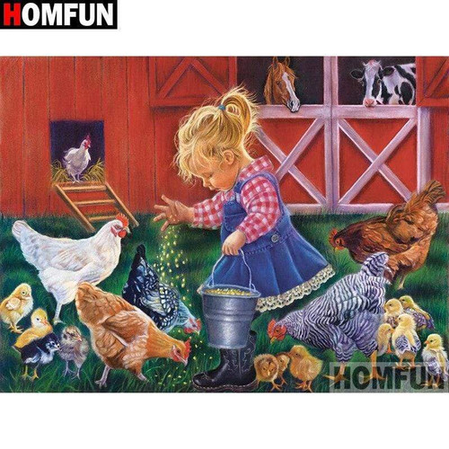 5D Diamond Painting Girl Feeding Chickens Kit