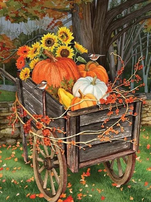 5D Diamond Painting Wooden Pumpkin Cart Kit