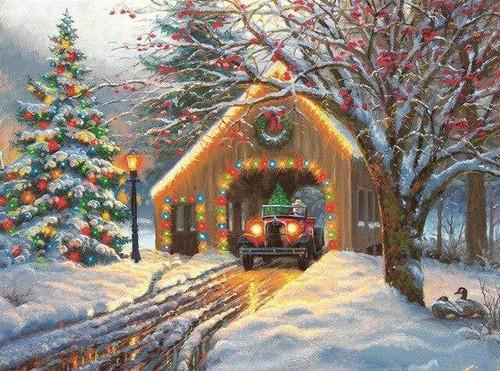 5D Diamond Painting Christmas Covered Bridge Kit