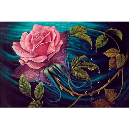 5D Diamond Painting Pink Rose and Thorns Kit