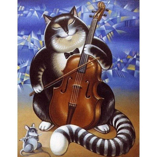 5D Diamond Painting Cat and Mouse Music Kit
