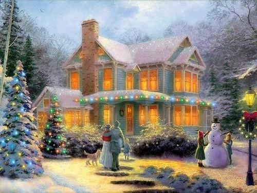 5D Diamond Painting Lighted Christmas House Kit