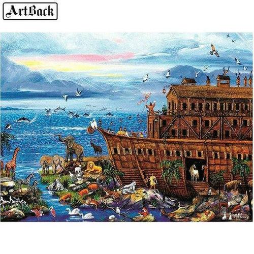 5D Diamond Painting Noah's Ark By the Sea Kit