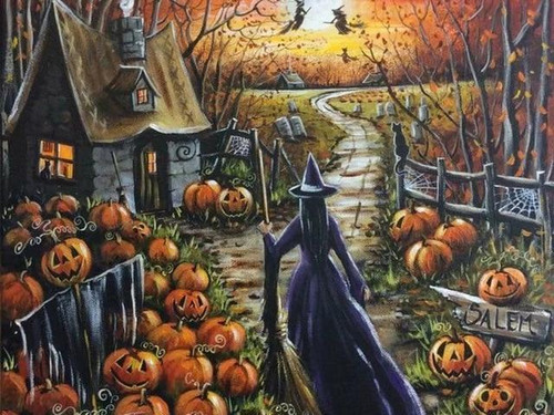 5D Diamond Painting Witches in the Yard Kit