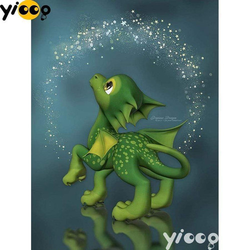 5D Diamond Painting Little Green Dragon Kit