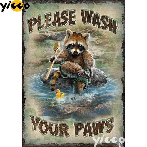 5D Diamond Painting Please Wash Your Paws Kit