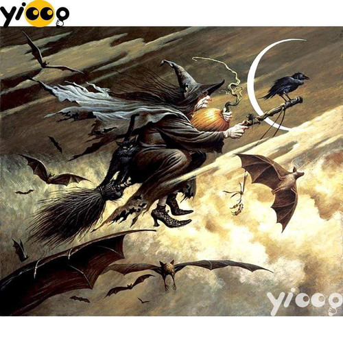 5D Diamond Painting Broomstick Witch Kit
