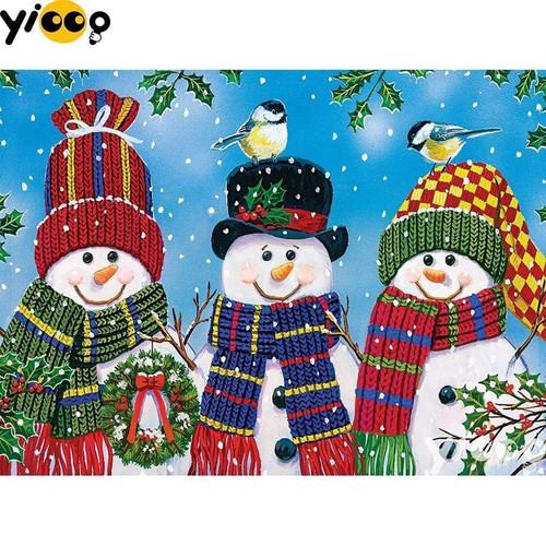 5D Diamond Painting Three Snowmen in Scarves Kit