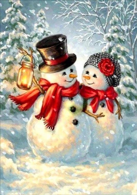 5D Diamond Painting Happy Snowman Couple Kit