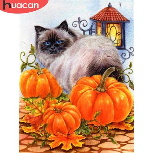 5D Diamond Painting Cat and Three Pumpkins Kit