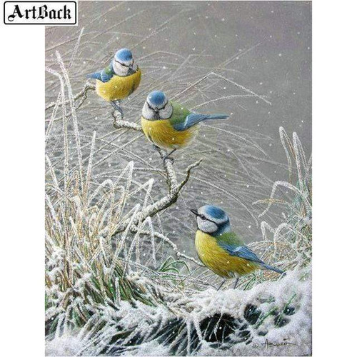 5D Diamond Painting Three Yellow Blue Birds Kit