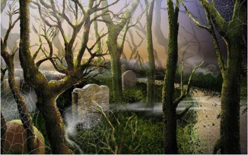 5D Diamond Painting Spooky Tree Cemetary Kit