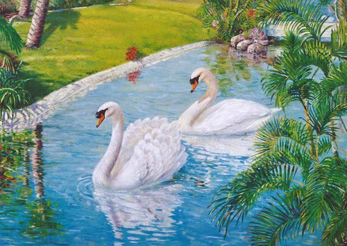 5D Diamond Painting Swans in the Pond Kit