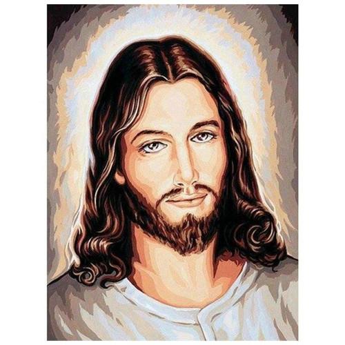 5D Diamond Painting Lighted Background Jesus Portrait Kit