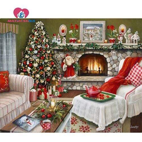 5D Diamond Painting Red and White Christmas Kit
