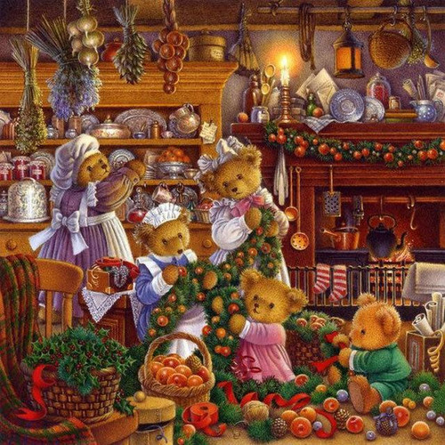 5D Diamond Painting Bear Family at Christmas Kit