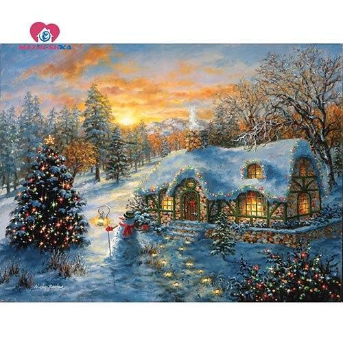 5D Diamond Painting Christmas House on the Hillside Kit