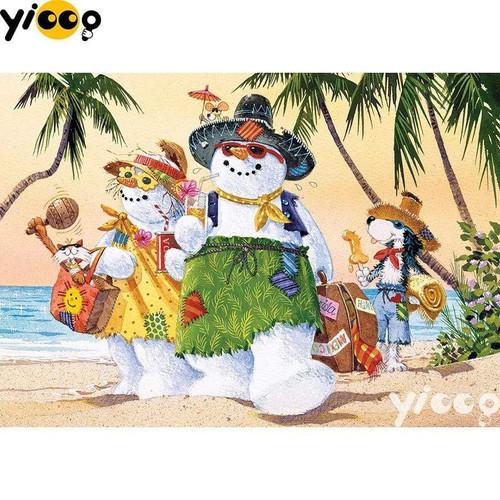 5D Diamond Painting Snowman Beach Vacation Kit