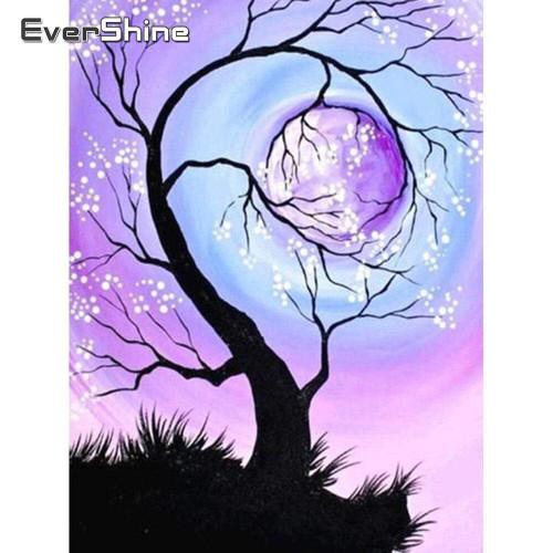 5D Diamond Painting Lavender Moon Tree Kit