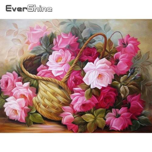 5D Diamond Painting Basket of Pink Roses Kit