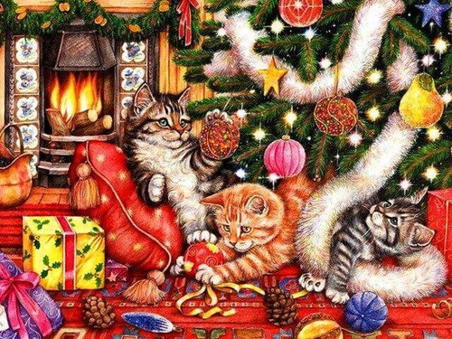 5D Diamond Painting Kittens Under the Christmas Tree Kit