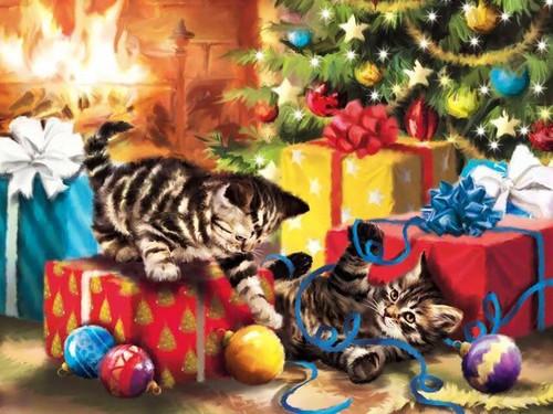 5D Diamond Painting Blue Ribbon Christmas Kittens Kit