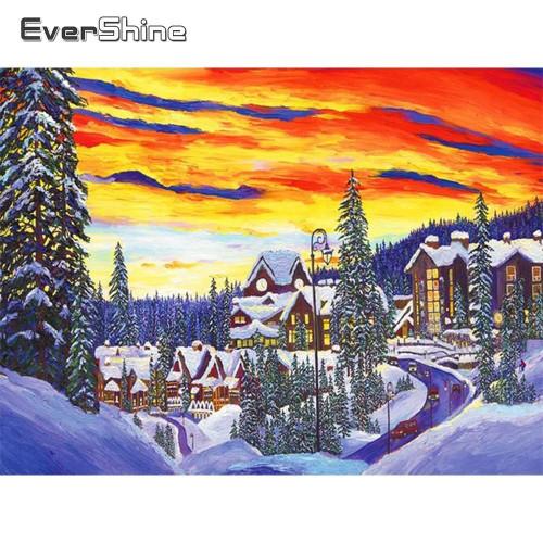 5D Diamond Painting Winter Town Kit