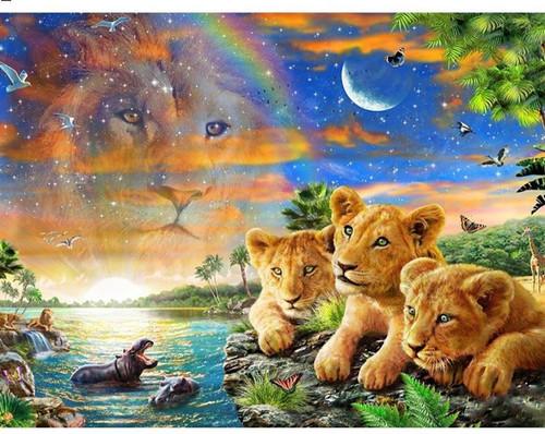 5D Diamond Painting Three Lion Cubs Kit