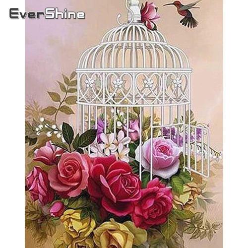 5D Diamond Painting Rose Birdcage Kit